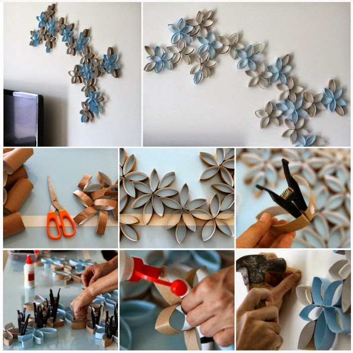 Diy paper roll 3d flower art creative ideas for Diy 3d art