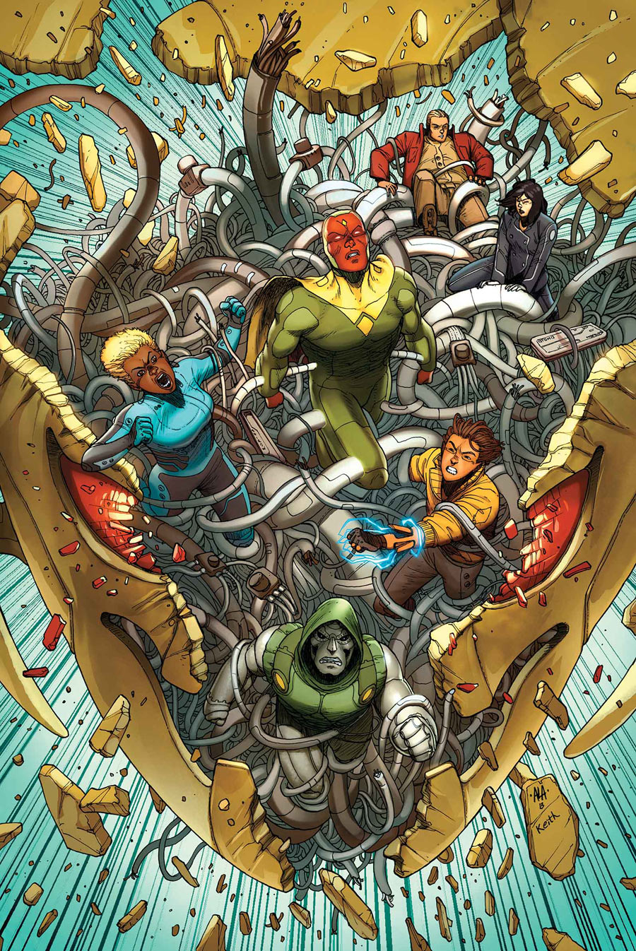 victor mancha doombot the mysterious alexis monica chang agent of s h i e l d the age of ultron is over the age of a i is now 32 pgs rated t