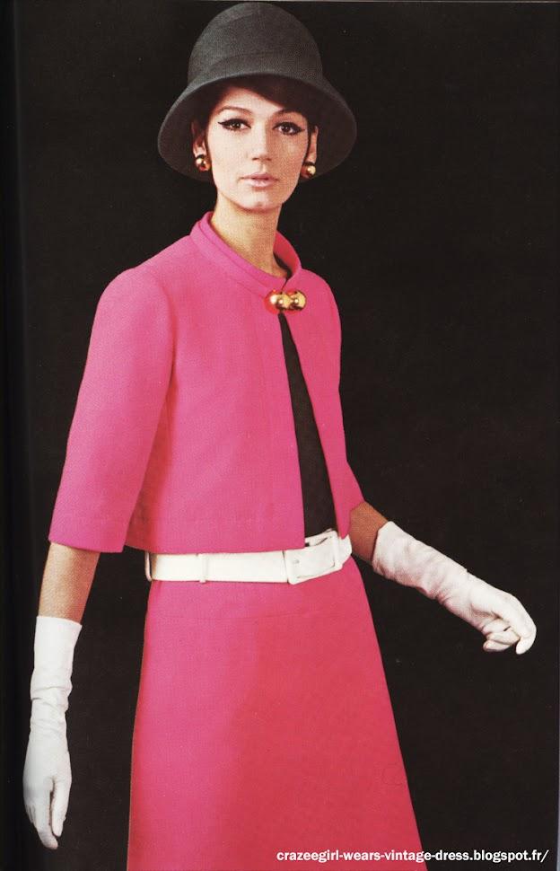 pink skirt suit 1967 Jeanne Lanvin 1960 60s mod