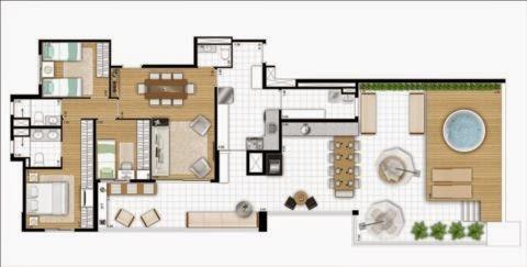 planta apartamento cobertura penthouse