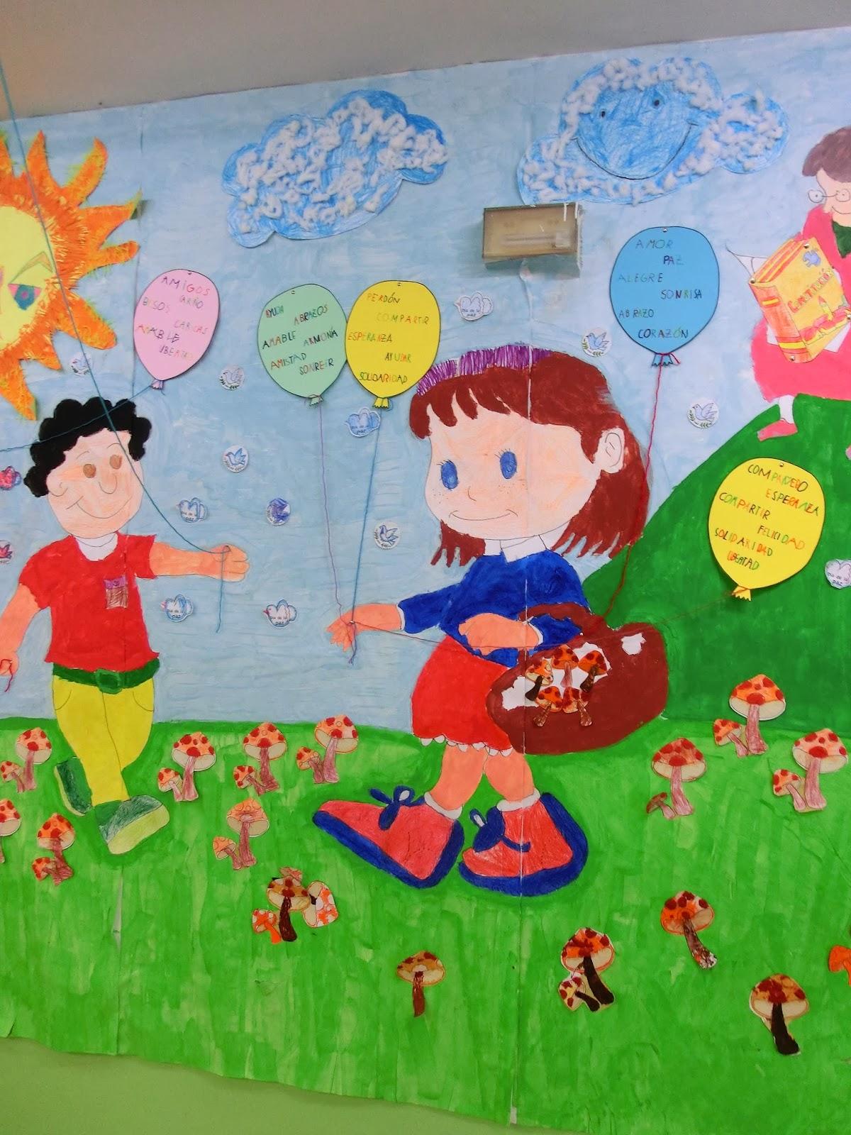 Profe rafa de infantil mural d a de la paz continuamos for Cultura para periodico mural