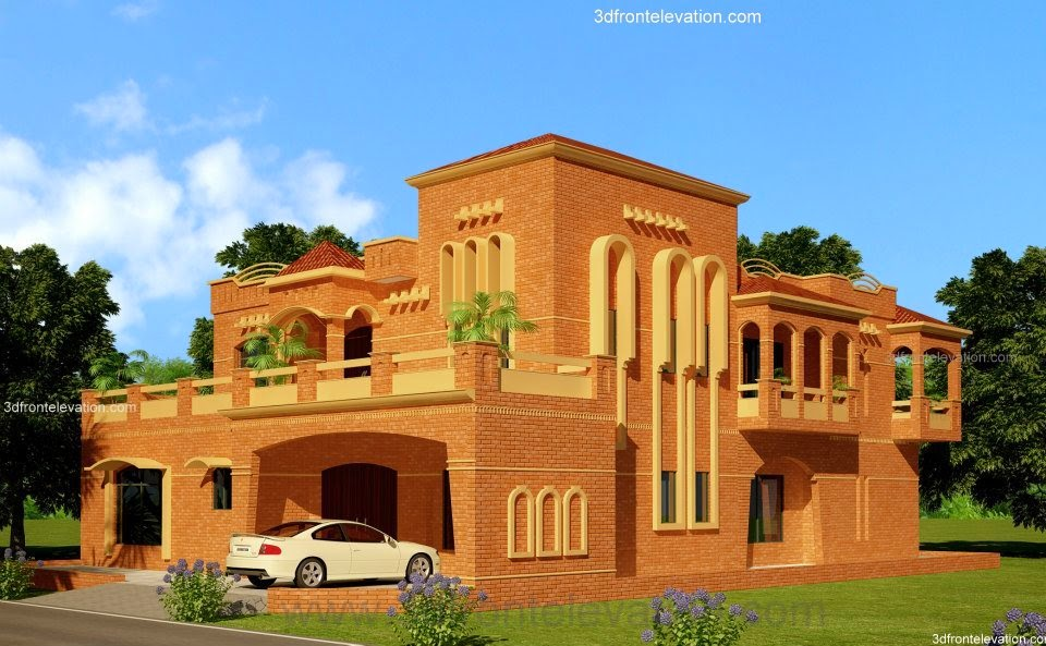 Brick Front Elevation Designs : D front elevation lahore kanal house design