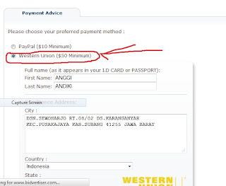 Cara Mengganti PO Bidvertiser Dari Paypal ke Wistern Union