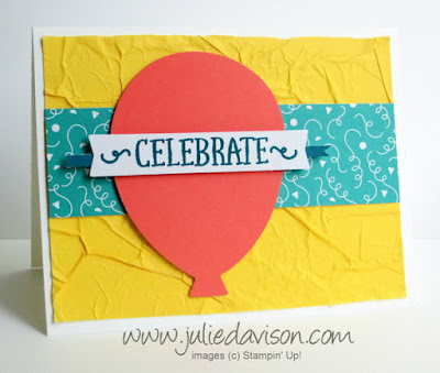 May 2015 Paper Pumpkin Birthday Bundle Bonus project idea + tips for Faux Silk Technique  #stampinup #paperpumpkin www.juliedavison.com
