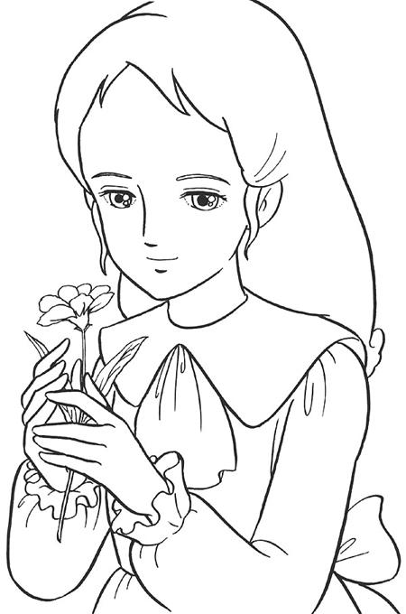 بنت تحمل وردة وتبتسم بهدوء