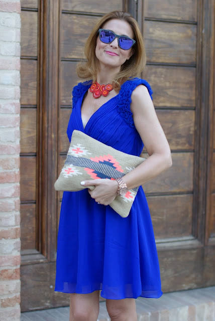 Aztec print clutch, Little Mistress prom dress, abito cobalto, Fashion and Cookies