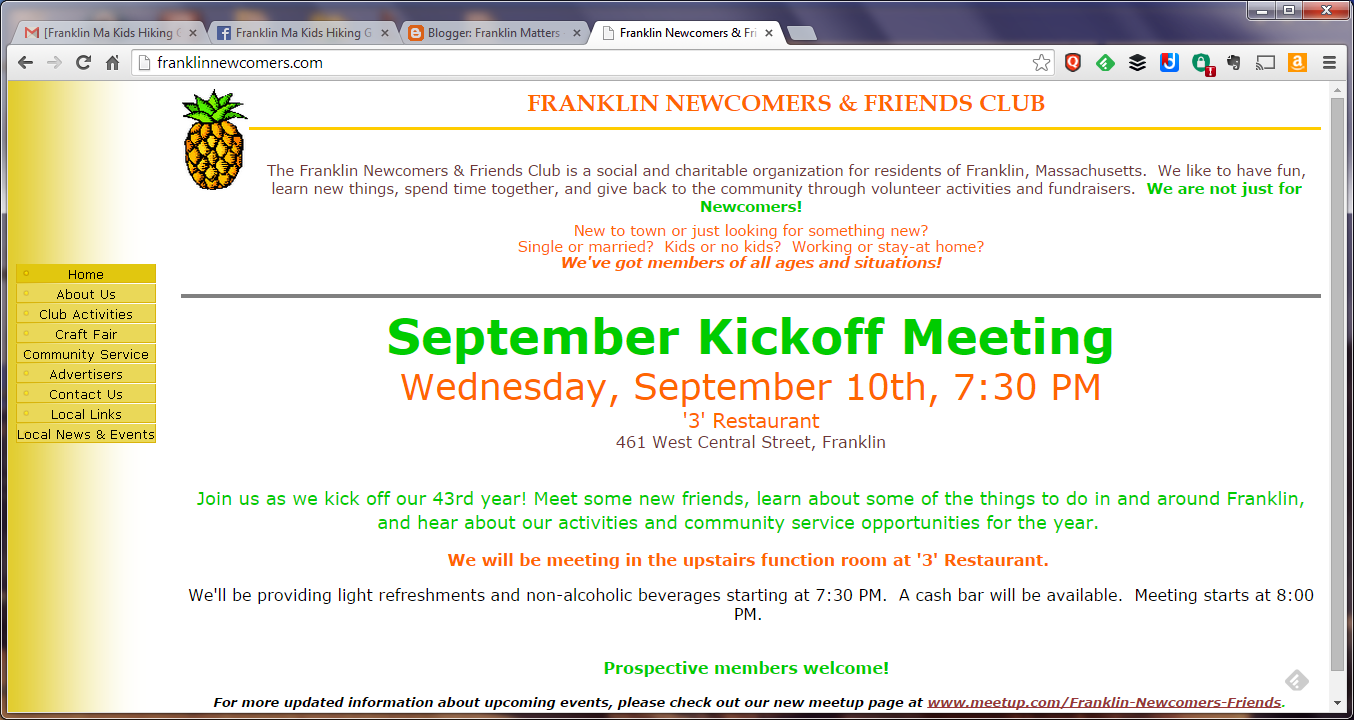 Franklin Newcomers and Friends website