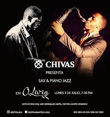 Jazz en O.Livia presenta este lunes 3 de Julio a las 7:30PM: