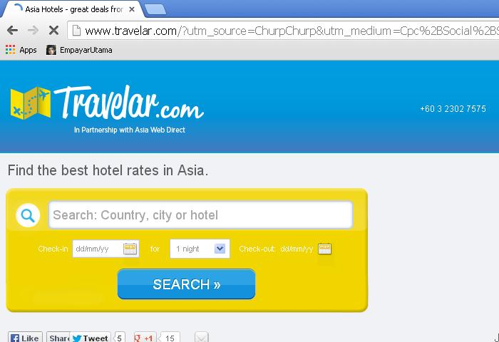 Travelar landing page