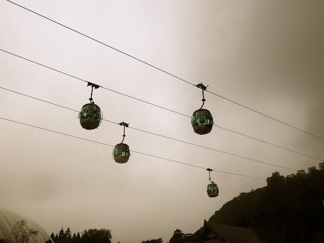 Cable cars stationary above Ocean Park, Hong Kong