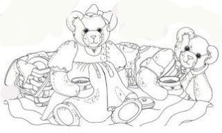 Risco para pintura de ursinhos