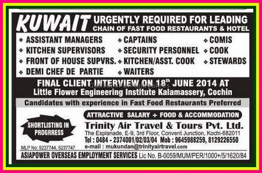 Leading Chain Restaurant Hotel Jobs For Kuwait