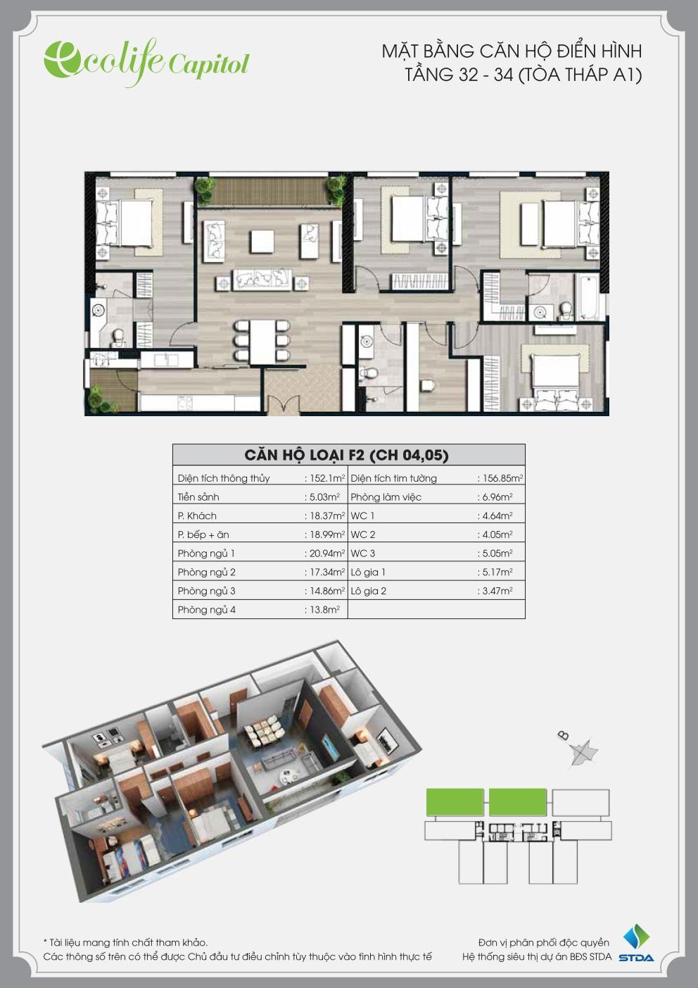 Thiết kế mặt bằng căn hộ F2 (CH 04,05)