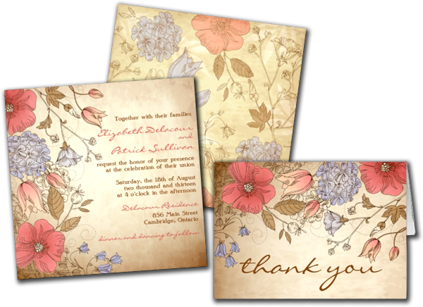 Vintage Red and Purple Flowers Wedding Invitation