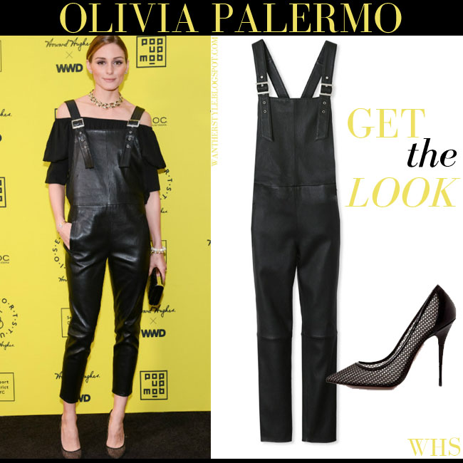Olivia Palermo in black leather Maison de Reefur overalls and black Aquazzura Lulu pumps what she wore get the look june 17