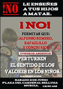 CRÓNICA DE LA PROTESTA ANTITAURINA EN MURCIA: (2-6-2012)