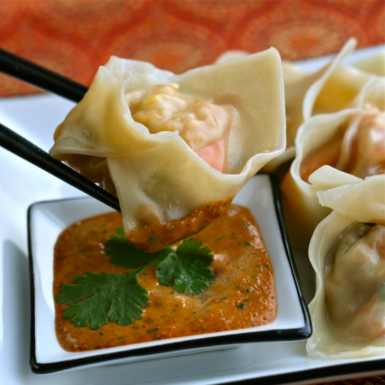 is for: Random Ravioli Thai Dumplings with Spicy Peanut Sauce