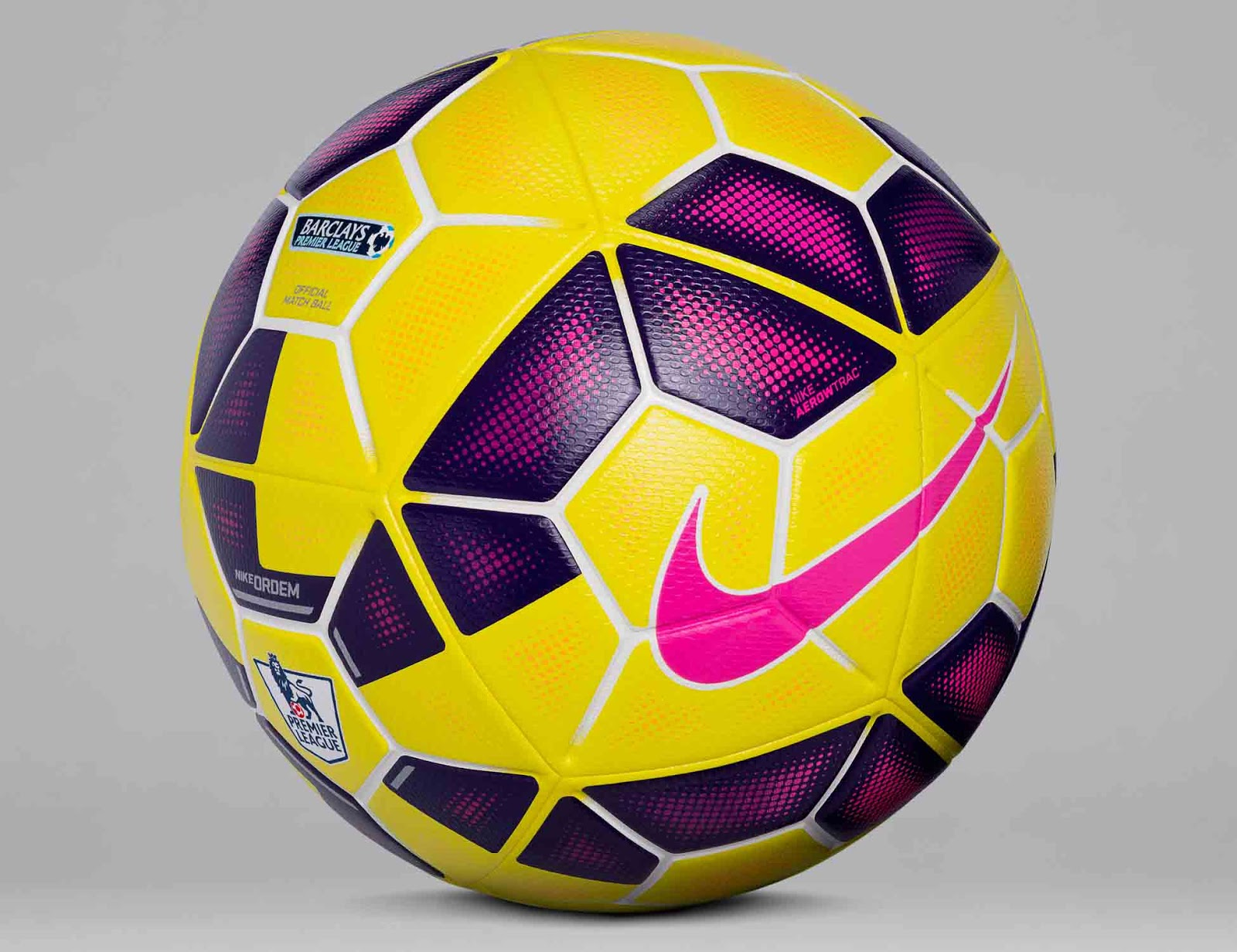Premier league la liga and serie a hi vis yellow pink navy ball