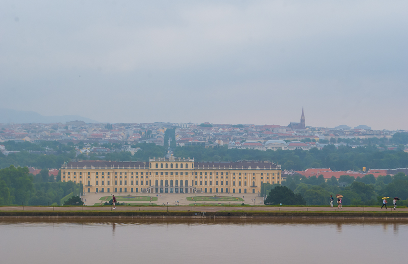 Panoramic view of the Schoönbrunn Palace in Vienna, Austria