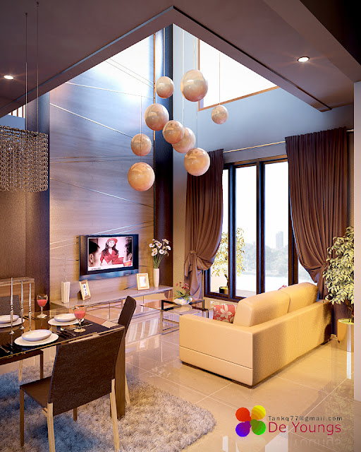 Sala doble altura salas y comedores decoracion de living for Decoracion family room moderno