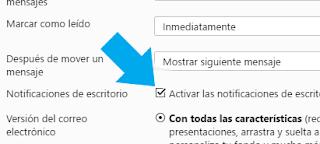 Nueva opcion Notificaciones de escritorio de Yahoo Mail