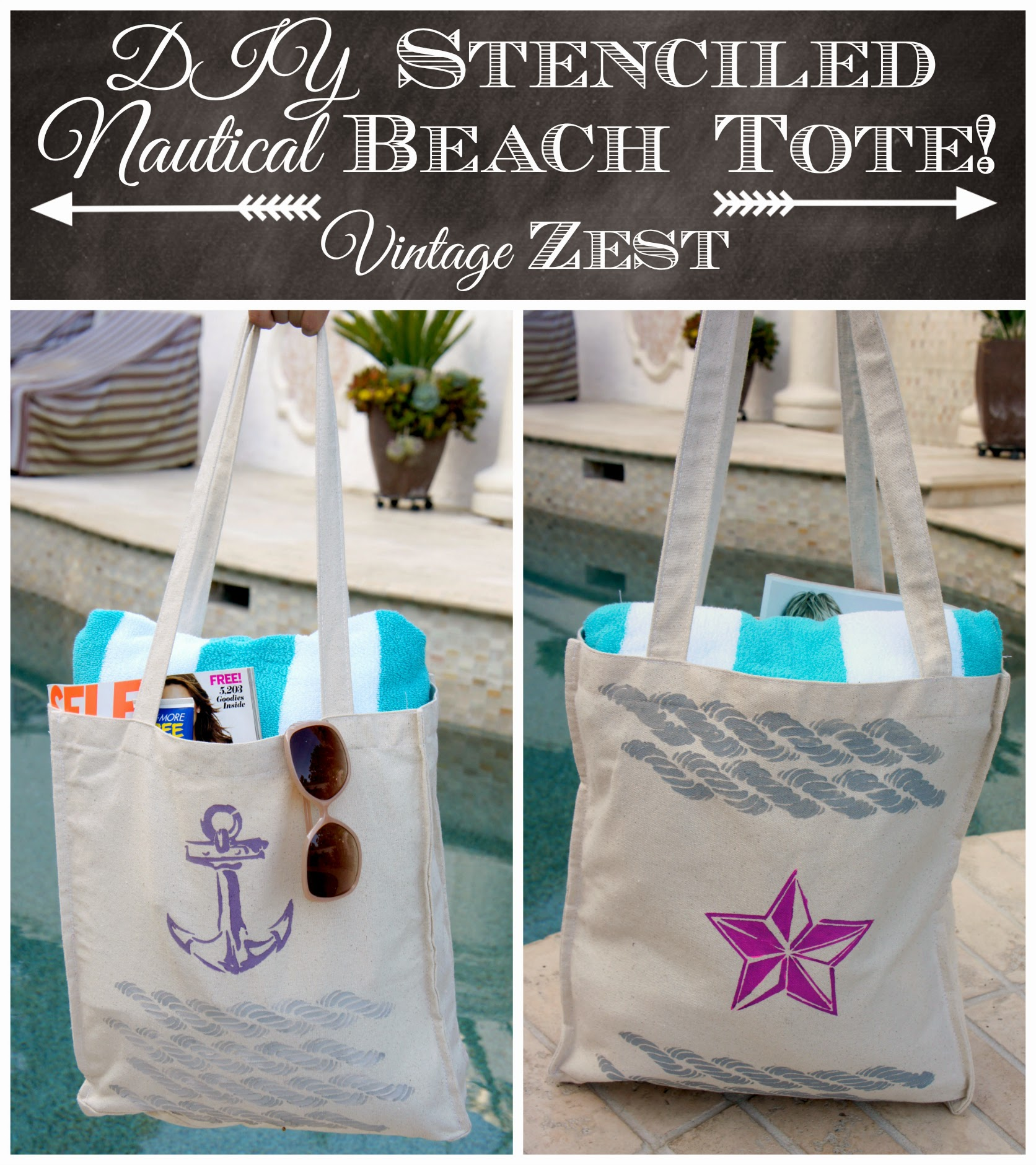 #shop #Stencil1 #cbias DIY Stenciled Nautical Beach Tote