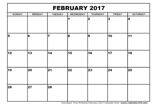 Blank Calendar February 2017 – Printable Editable Blank