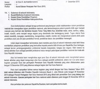 Surat Edaran Menpan Perihal Larangan Mengikuti Perayaan Persatuan Hari Guru RI