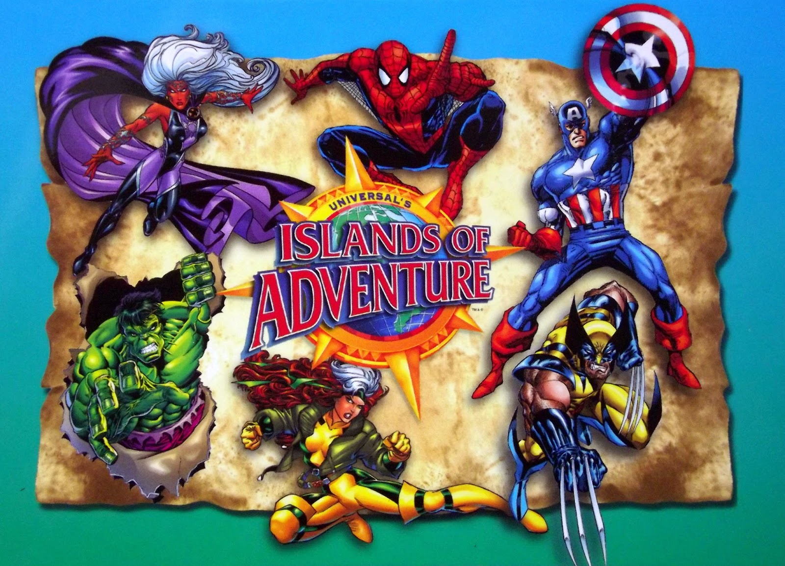 Universal Studios Islands of Adventure with pictures of Marvel superheroes