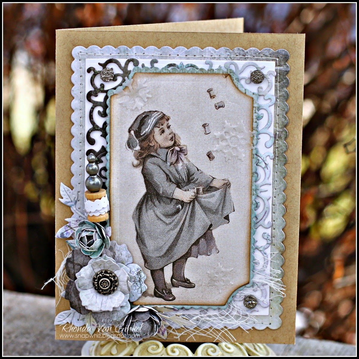 Vintage Themed Card for Cheery Lynn Designs featuring Pion Designs papers designed by Rhonda Van Ginkel