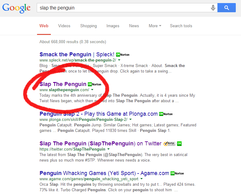 Slap the Penguin Google Search