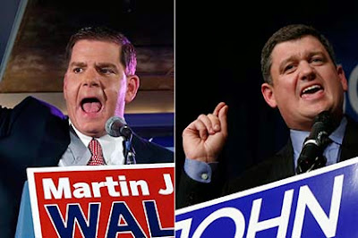 In the running for Boston mayoral position Martin Walsh and John Connolly. (Photo: Bostinno)