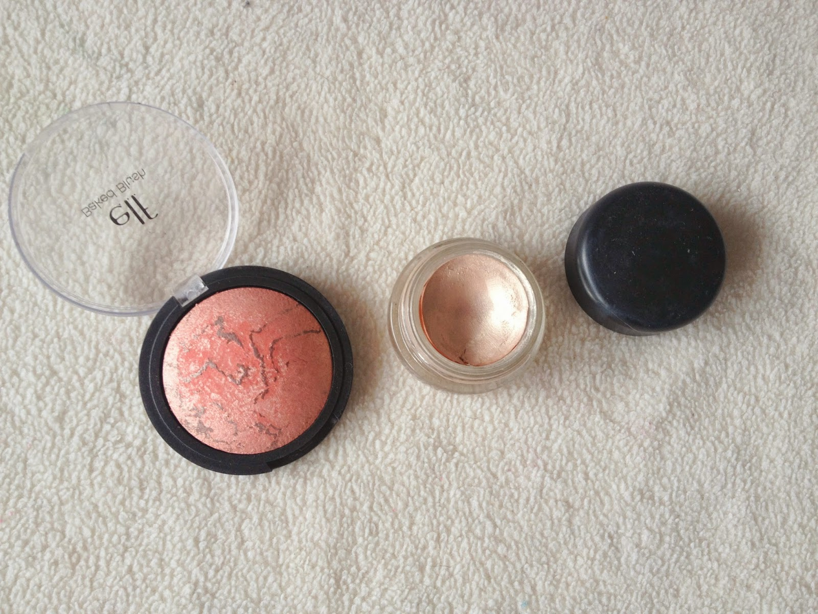 Elf Baked Blush in Peachy Cheeky and MAC Bare Study Paintpot