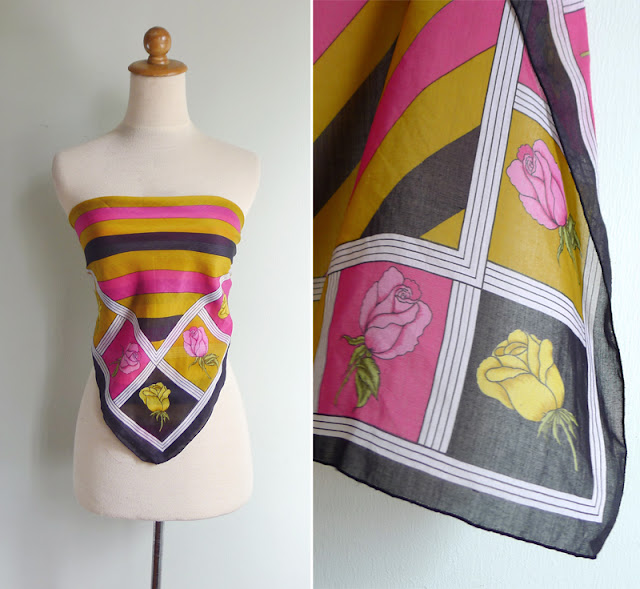 vintage 1970's square scarf
