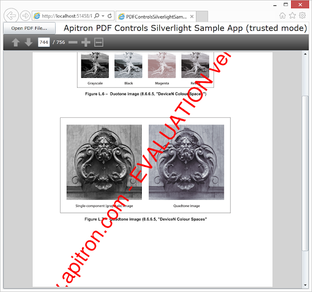 Pic. 2 Apitron PDF Viewer control usage sample (running application)