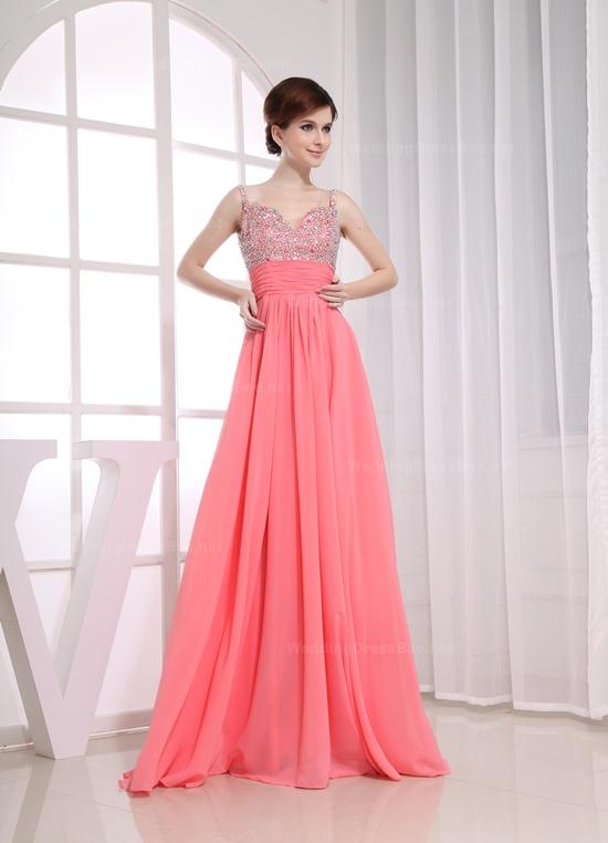 Pink maxi prom dress