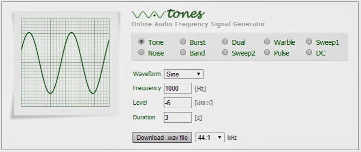 Audio Frequency Signal Generator : Musiikin online materiaaleja wavtones audio