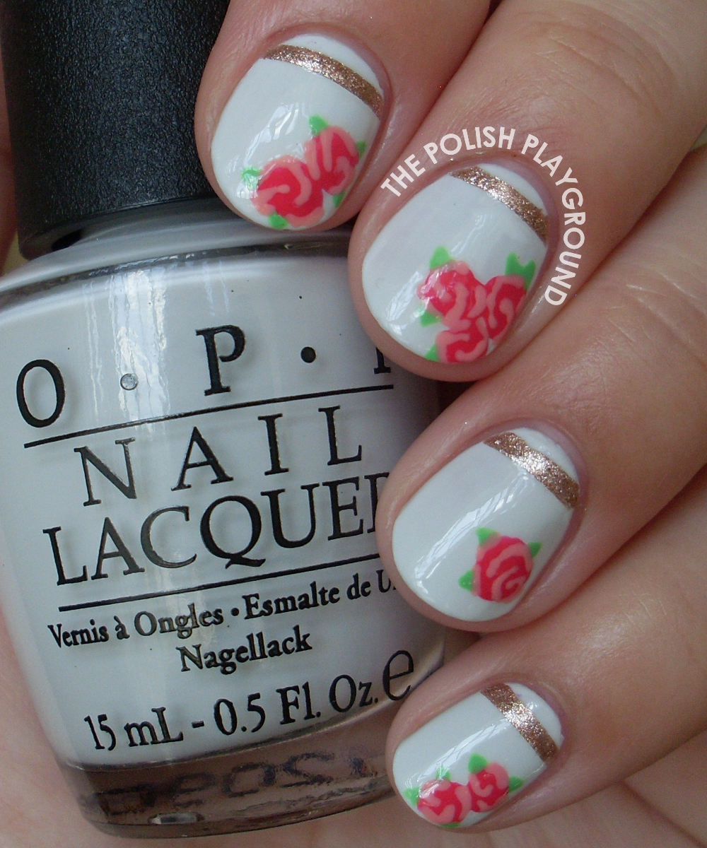 Vintage Rose Tea Cup Inspired Nail Art
