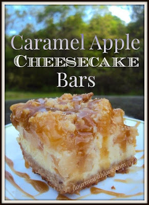 Caramel Apple Cheesecake Bars made with a walnut shortbread crust