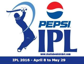 IPL 2016 Schedule Match Fixtures