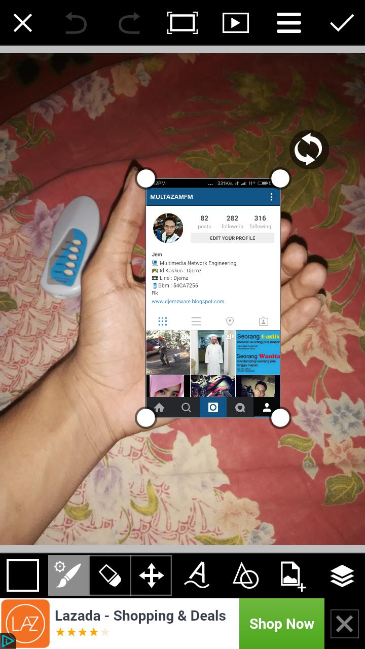 Cara membuat Instagram In Hand Atur Posisi di Tangan