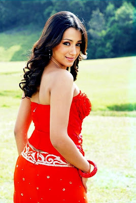 Trisha red gown hot photos