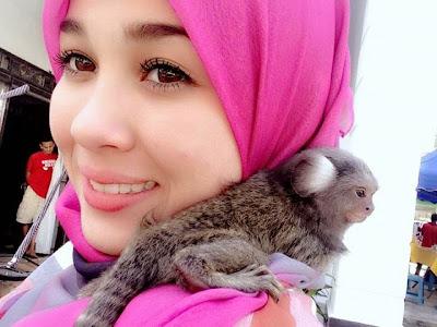 Emma Maembong Sangat Comel Bertudung bersama monyetnya