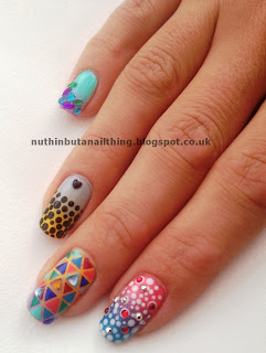 gradient nail art dotting triangle checkerboard nails