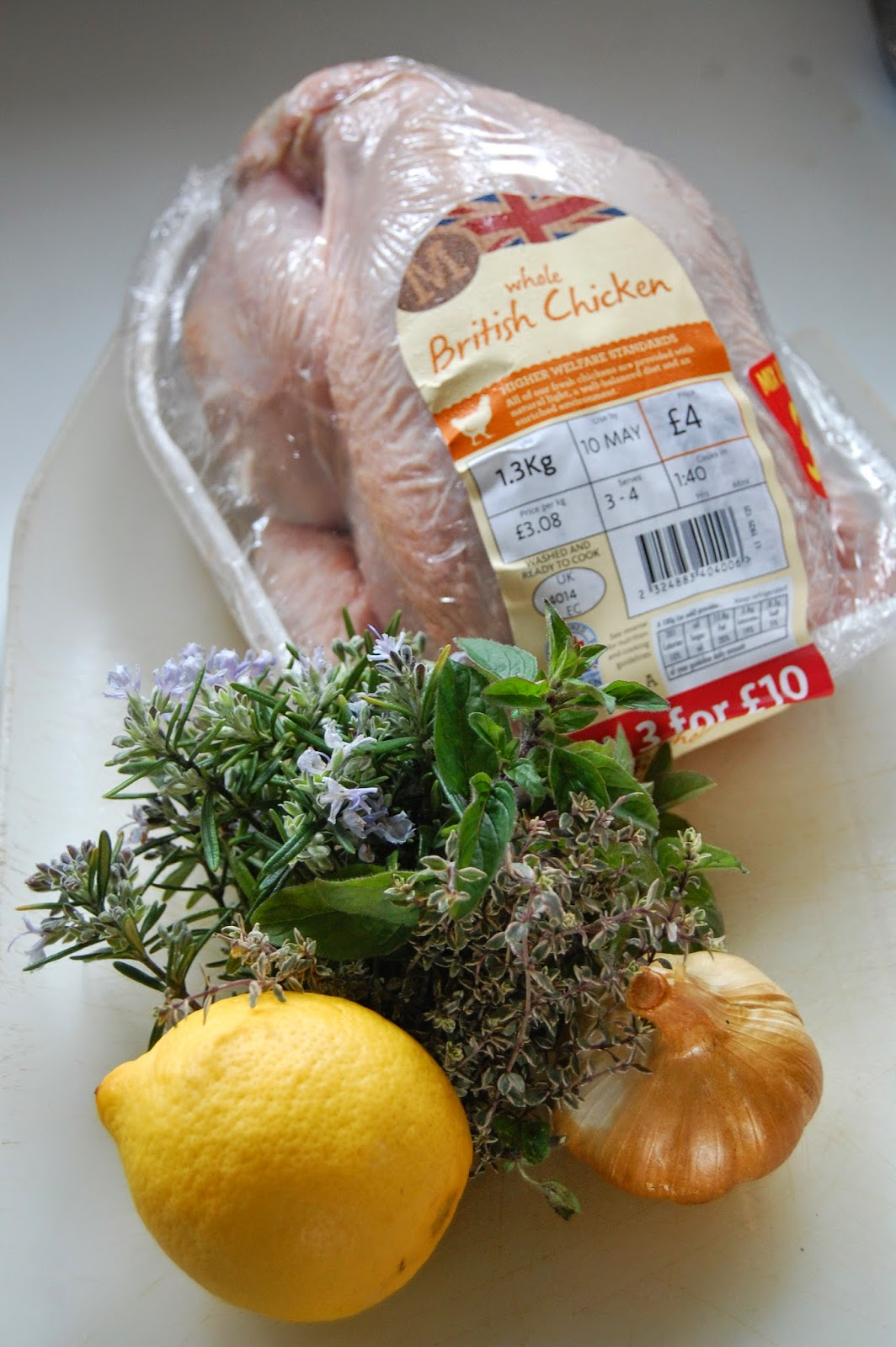 ingredients from Morrisons for our chicken dinner