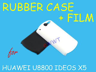 2x Rubber Back Cover Hard Case + LCD Film for Huawei U8800 Ideos X5 Pro ZVZBD73