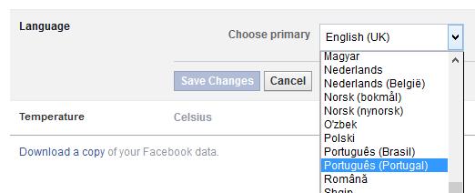 facebook em portugues