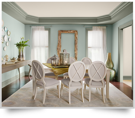 Benjamin Moore Named Wythe Blue As 2012u0027s Color Of The Year. Here It Is In  A Dining Room. Theyu0027ve Used It With Storm Cloud Gray On The Trim,  Battenberg On ...