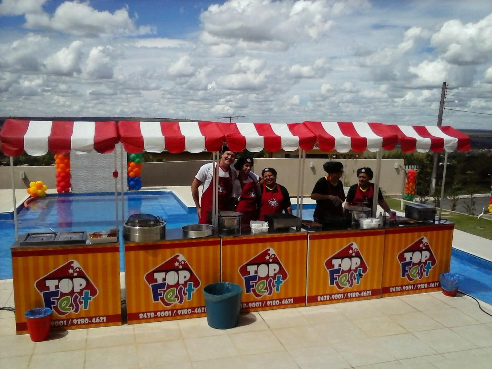 Barraquinhas de Cachorro quente, Batata frita, Mini churros, Pastel e Crepe no Palito.