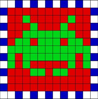 Cubo hecho con Hama Beads numero de piezas impar